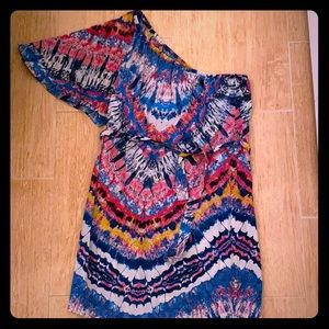 Tye die silk one shoulder dress